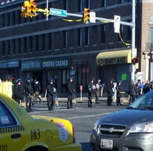 Police officers line Pennslyvania Ave early Tuesday morning.