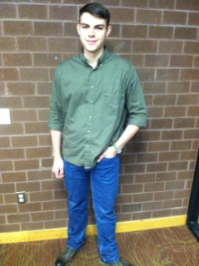 Button down shirt and jeans: The perfect combination for a dressy casual event, like a romantic date, or night out with friends. -Sam Stevens, Freshman